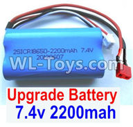 Wltoys 12429 Parts-0123-02 Upgrade 7.4V 2200MAH Battery With T-Shape Plug(1pcs)-Size-65X38X18mm,Wltoys 12429 1/12 RC Car Parts