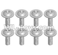 Wltoys 12429 Parts-0150-05 12428.0100 Pan head screws with cross media(8PCS)-M2X8 PMW,Wltoys 12429 1/12 RC Car Parts