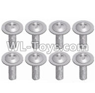 Wltoys 12429 Parts-0150-07 12428.0129 Pan head screws with cross media(8PCS)-M2.3X8,Wltoys 12429 1/12 RC Car Parts