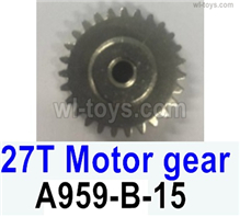 Wltoys 14401 Parts-Copper motor Gear(1pcs)-0.7 Modulus-27 Teeth,Wltoys 14401 1/14 Parts,Wltoys 14401 RC Car Parts