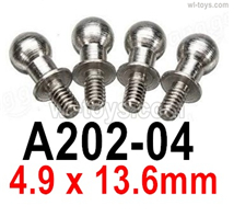 Wltoys 14401 Parts-Ball head screws-4pcs-4.0X9.5mm-A202-04,Wltoys 14401 1/14 Parts,Wltoys 14401 RC Car Parts