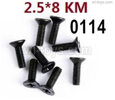 Wltoys 14401 Parts-Screws Parts--2.5X8kM-8pcs-12428.0114,Cross Flat head tooth screw,Wltoys 14401 1/14 Parts,Wltoys 14401 RC Car Parts