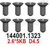 Wltoys 14401 Parts-Screws Parts-Cross Flat head Self-tapping screws-2.6x5KB D4.5-8pcs-14401.1323,Wltoys 14401 1/14 Parts,Wltoys 14401 RC Car Parts