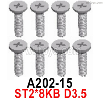 Wltoys 14401 Parts-Screws Parts-Cross Flat head tooth screw -2X8KB-8pcs-A202-15,Wltoys 14401 1/14 Parts,Wltoys 14401 RC Car Parts
