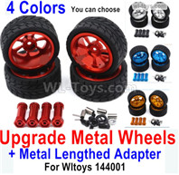 Wltoys 144001 Upgrade Parts Metal Wheels Tires + Upgrade Metal Lengthed 24mm Hex wheel seat. Run More stable and more resistant to falls.
