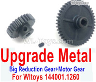 Wltoys 144001 Upgrade Parts Metal Steel Motor Gear + Reduction gear. It is perfectly suitable for the 144001 RC Racing Car.