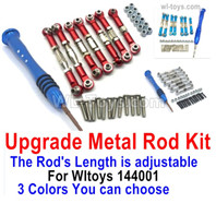 Wltoys 144001 Upgrade Parts Metal Rod Assembly Kit. 3 The color you can choose. It Includes 7pcs Rod + Screws drivers + screws