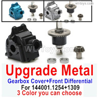 Wltoys 144001 Upgrade Parts Metal Gearbox Cover + Front Steel Differential unit + Bearings + Bevel gear. 144001.1254 + 144001.1309 .