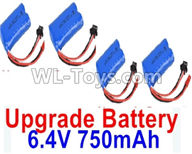 Wltoys 18405 Parts-Upgrade 6.4V 750mAh battery(4pcs)-52X32X16mm,Wltoys 18405 RC Crawler Car Spare Parts Replacement Accessories,1:18 18405 4wd RC rock racing car Parts,On Road Drift Racing Truck Car Parts