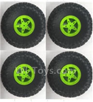 Wltoys 18428-B Parts-Wheel unit(4pcs)-Green,Wltoys 18428-B RC Car Spare Parts Replacement Accessories,1:18 Scale 4wd,2.4G 18428-B RC racing car Parts,On Road Drift Racing Truck Car Parts