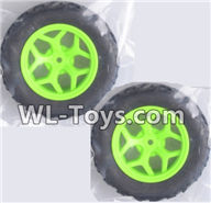 Wltoys 18429 Parts-Whole wheel unit(2 set)-Green,Wltoys 18429 RC Car Spare Parts Replacement Accessories,1:18 Scale 4wd,2.4G 18429 rc racing car Parts,On Road Drift Racing Truck Car Parts