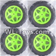 Wltoys 18429 Parts-Whole wheel unit(4 set)-Green,Wltoys 18429 RC Car Spare Parts Replacement Accessories,1:18 Scale 4wd,2.4G 18429 rc racing car Parts,On Road Drift Racing Truck Car Parts