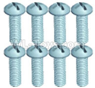 Wltoys 18628 Parts-Bottom half tooth Pan head screws(8pcs)-ST2.3X8PB-18628-0557,Wltoys 18628 RC Crawler Car Spare Parts Replacement Accessories,1:18 18628 6wd rc rock racing car Parts,On Road Drift Racing Truck Car Parts