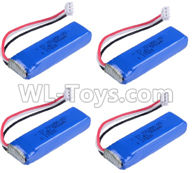 Wltoys 20402 Parts-RC Batteries,0658 7.4V 500mah Battery(4pcs),1/20 Wltoys 20402 RC Car Spare Parts Replacement Accessories