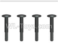 Wltoys 20404 Parts-0643 Round Head Machine Screws with cross media and Lower half tooth(4pcs)-2x14PWB5,1/20 Wltoys 20404 RC Car Spare Parts Replacement Accessories