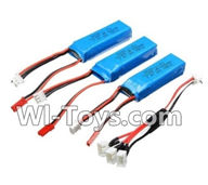 Wltoys A232 A242 A252 Parts-Lipo Batteries,7.4v 500mah battery(3pcs) & Upgrade 1-to-3 conversion Charging cable(1pcs),Wltoys A232 A242 A252 1/24 rc Drift Car Parts desert Off Road Buggy parts