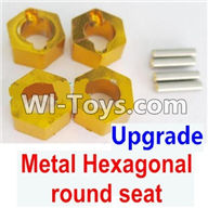 Wltoys A949 Parts-Upgrade Metal Hexagonal round seat(4pcs)(4pcs)-Yellow,Wltoys A949 RC Car Parts ,Wltoys 1/18 rc Truck and rc racing car Replace Parts