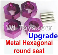 Wltoys A949 Parts-Upgrade Metal Hexagonal round seat(4pcs)-Purple,Wltoys A949 RC Car Parts ,Wltoys 1/18 rc Truck and rc racing car Replace Parts
