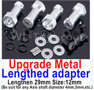 Wltoys A959B A959-B Upgrade Parts Upgrade Metal Lengthed adapter(4 set)-Lengthen 29mm-Silver
