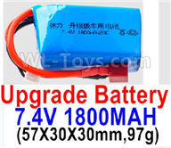 Wltoys A959B A959-B Upgrade Battery Parts-7.4V 1800mah 20C Battery with Red T Plug(1pcs)-(57X30X30mm,97g)-Battery Parts