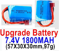 Wltoys A959B A959-B Upgrade Battery Parts-7.4V 1800mah 20C Battery with Red T Plug(2pcs)-(57X30X30mm,97g)-Battery Parts