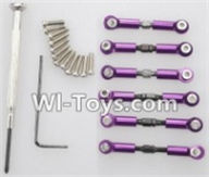 Wltoys A969-B Parts-Upgrade Metal Connect buckle,Trolley(6pcs)-Purple For Wltoys A969-B Rc Car Parts,High speed 1:18 Scale 4wd,2.4G A969-B rc racing car Parts,On Road Drift Racing Truck Car Parts