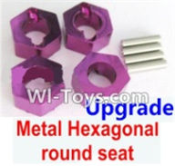 Wltoys A969-B Parts-Upgrade Metal Hexagonal round seat(4pcs)-Purple For Wltoys A969-B Rc Car Parts,High speed 1:18 Scale 4wd,2.4G A969-B rc racing car Parts,On Road Drift Racing Truck Car Parts