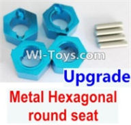 Wltoys A969-B Parts-Upgrade Metal Hexagonal round seat(4pcs)(4pcs)-Blue For Wltoys A969-B Rc Car Parts,High speed 1:18 Scale 4wd,2.4G A969-B rc racing car Parts,On Road Drift Racing Truck Car Parts