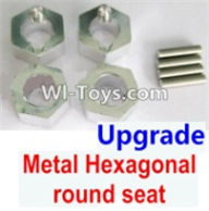 Wltoys A969-B Parts-Upgrade Metal Hexagonal round seat(4pcs)(4pcs)-Silver For Wltoys A969-B Rc Car Parts,High speed 1:18 Scale 4wd,2.4G A969-B rc racing car Parts,On Road Drift Racing Truck Car Parts