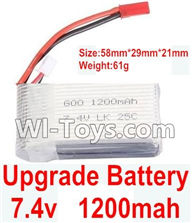 Wltoys K929 Parts-Upgrade 1200mah battery(Size-58mmX29mmX21mm)(Weight-61g),Wltoys K929 desert RC Truck Parts,1:18 rc car and rc racing car Parts