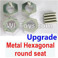 Wltoys K929 Parts-Upgrade Metal Hexagonal round seat(4pcs)(4pcs)-Silver,Wltoys K929 desert RC Truck Parts,1:18 rc car and rc racing car Parts