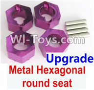 Wltoys K929 Parts-Upgrade Metal Hexagonal round seat(4pcs)-Purple,Wltoys K929 desert RC Truck Parts,1:18 rc car and rc racing car Parts