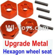 Wltoys K949 Parts-Upgrade Metal 12MM Hexagon wheel seat,Tire adapter(4pcs)-Orange,Wltoys K949 RC Car Parts,High speed 1:10 Scale 4wd,K949 Electric Power On Road Drift Racing Truck Car Parts