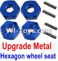Wltoys K949 Parts-Upgrade Metal 12MM Hexagon wheel seat,Tire adapter(4pcs)-Dark Blue,Wltoys K949 RC Car Parts,High speed 1:10 Scale 4wd,K949 Electric Power On Road Drift Racing Truck Car Parts