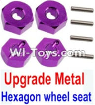 Wltoys K949 Parts-Upgrade Metal 12MM Hexagon wheel seat,Tire adapter(4pcs)-Purple,Wltoys K949 RC Car Parts,High speed 1:10 Scale 4wd,K949 Electric Power On Road Drift Racing Truck Car Parts