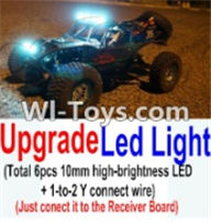 Wltoys K949 Parts-Upgrade LED light unit(Total 6pcs Light and 1pcs 1-TO-2 Y-shape connect wire),Wltoys K949 RC Car Parts,High speed 1:10 Scale 4wd,K949 Electric Power On Road Drift Racing Truck Car Parts