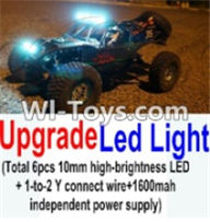 Wltoys K949 Parts-Upgrade LED light unit(Total 6pcs Light and 1pcs 1-TO-2 Y-shape connect wire & 1600MAH Independent power supply) For Wltoys K949 Rc Car Parts,High speed 1:10 Scale 4wd Car Part