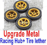Wltoys K989 Upgrade Parts-Upgrade Metal Racing Hub(4pcs) & Upgrade Racing Trie lether(4pcs)-Yellow,1:28 Wltoys K989 RC Car Spare Parts Replacement accessories,1/28 Mini K989 On Road Drift Racing Truck Car Parts