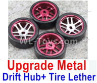 Wltoys K989 Upgrade Parts-Upgrade Metal Drift Hub(4pcs) & Upgrade Drift Trie lether(4pcs)-Purple,1:28 Wltoys K989 RC Car Spare Parts Replacement accessories,1/28 Mini K989 On Road Drift Racing Truck Car Parts