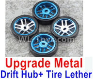 Wltoys K989 Upgrade Parts-Upgrade Metal Drift Hub(4pcs) & Upgrade Drift Trie lether(4pcs)-Blue,1:28 Wltoys K989 RC Car Spare Parts Replacement accessories,1/28 Mini K989 On Road Drift Racing Truck Car Parts