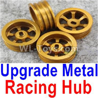 Wltoys K989 Upgrade Parts-Upgrade Metal Racing Hub(4pcs)(Can only match the Racing Tire lether)-Yellow,1:28 Wltoys K989 RC Car Spare Parts Replacement accessories,1/28 Mini K989 On Road Drift Racing Truck Car Parts
