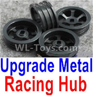 Wltoys K989 Upgrade Parts-Upgrade Metal Racing Hub(4pcs)(Can only match the Racing Tire lether)-Black,1:28 Wltoys K989 RC Car Spare Parts Replacement accessories,1/28 Mini K989 On Road Drift Racing Truck Car Parts