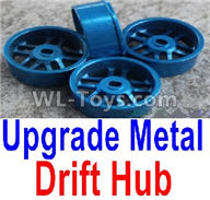 Wltoys K989 Upgrade Parts-Upgrade Metal Drift Hub(4pcs)(Can only match the Drift Tire lether)-Blue,1:28 Wltoys K989 RC Car Spare Parts Replacement accessories,1/28 Mini K989 On Road Drift Racing Truck Car Parts