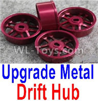 Wltoys K989 Upgrade Parts-Upgrade Metal Drift Hub(4pcs)(Can only match the Drift Tire lether)-Purple,1:28 Wltoys K989 RC Car Spare Parts Replacement accessories,1/28 Mini K989 On Road Drift Racing Truck Car Parts