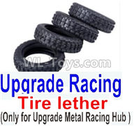 Wltoys K989 Upgrade Parts-Upgrade Racing Tire lether(4pcs)-Can only match the Upgrade Metal Racing Hub,1:28 Wltoys K989 RC Car Spare Parts Replacement accessories,1/28 Mini K989 On Road Drift Racing Truck Car Parts