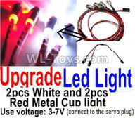 Wltoys K989 Parts-Upgrade LED light unit(Total 4pcs Light-2 Red and 2 White-voltage 3-7V),1:28 Wltoys K989 RC Car Spare Parts Replacement accessories,1/28 Mini K989 On Road Drift Racing Truck Car Parts