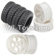 Wltoys K989 Parts-Rally tire-4pcs-(27.5X8.5mm) & Wheel hub(4pcs) For WLtoys K989 1:28 rc Drift Car Parts desert Off Road Buggy parts