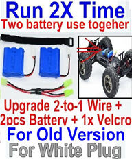 XinleHong Toys 9116 Parts-Upgrade 2-to-1 wire and Velcro & 2pcs Battery-Two battery can be used together,Run 2x Time than usual,JYRC XinleHong Toys 9116 Parts-S912 RC Monster Truck Spare parts Accessories,1:12 4WD Brush High Speed Bu