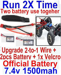 Hosim 9135 Parts-Upgrade 2-to-1 wire and Velcro & 2pcs Battery-Two battery can Be used together,Run 2x Time than usual,Hosim 9135 RC Car Parts
