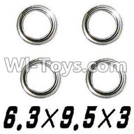 XinleHong Toys 9120 Parts-WJ09 Bearing-6.3x9.5x3mm-4pcs,JYRC XinleHong Toys 9120 Racing Sprint RC Monster Truck Spare parts Accessories,9120 1:12 4WD Brush High Speed Buggy Parts